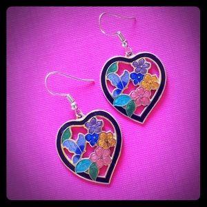 Cloisinne heart bouquet vintage earrings